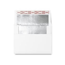 White envelope with a silver inner lining