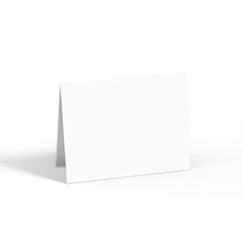 A folded greeting card with a blank front design