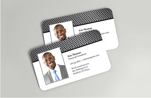 Two photo business cards with a dotted design showing a picture of a man in a suit and his contact information