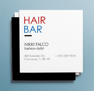 Three rounded corner business cards with a mosaic patterned background