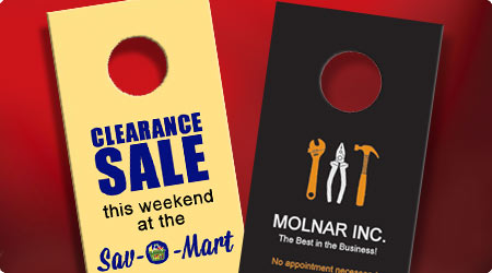 Yellow and black advertising doorhanger designs on a red background.