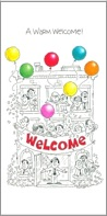 A business bursting with people and balloons is shown on the card with the word WELCOME on a banner.