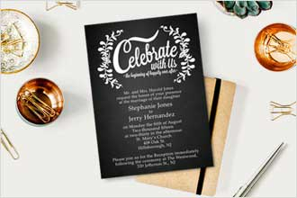 A vertical wedding invitation with a free-spirited, black and white vine design showcasing the words Celebrate With Us