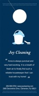 An advertising door hanger design showing an illustrated sudsy cleaning bucket on navy background.