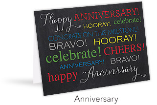 "A standing greeting card with a black background that reads ""Happy Anniversary, Hooray!,Celebrate"",etc."