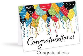 "A standing greeting card with a multi-color balloon design that reads ""Congratulations!"""