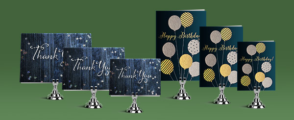 Two sets of greeting cards in horizontal and vertical format. Each set has a signature, standard and junior sized greeting cards.