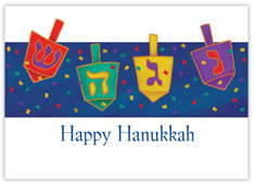 Four Dreidels Hanukkah Card