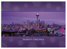 Seattle at Night Christmas Card