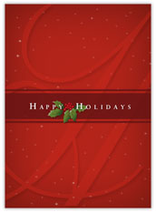 Holly on Red Holiday Card