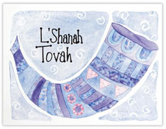 Blue Horn Hanukkah Card