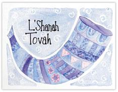 Blue Shofar Rosh Hashanah Card