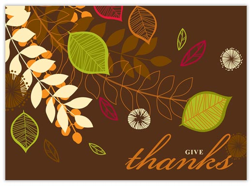 Leaf Foliage Thanks - Thanksgiving Cards from CardsDirect
