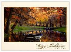 Rowboat on Autumn Lake Thanksgiving Card
