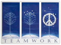 Teamwork Peace Holiday Card