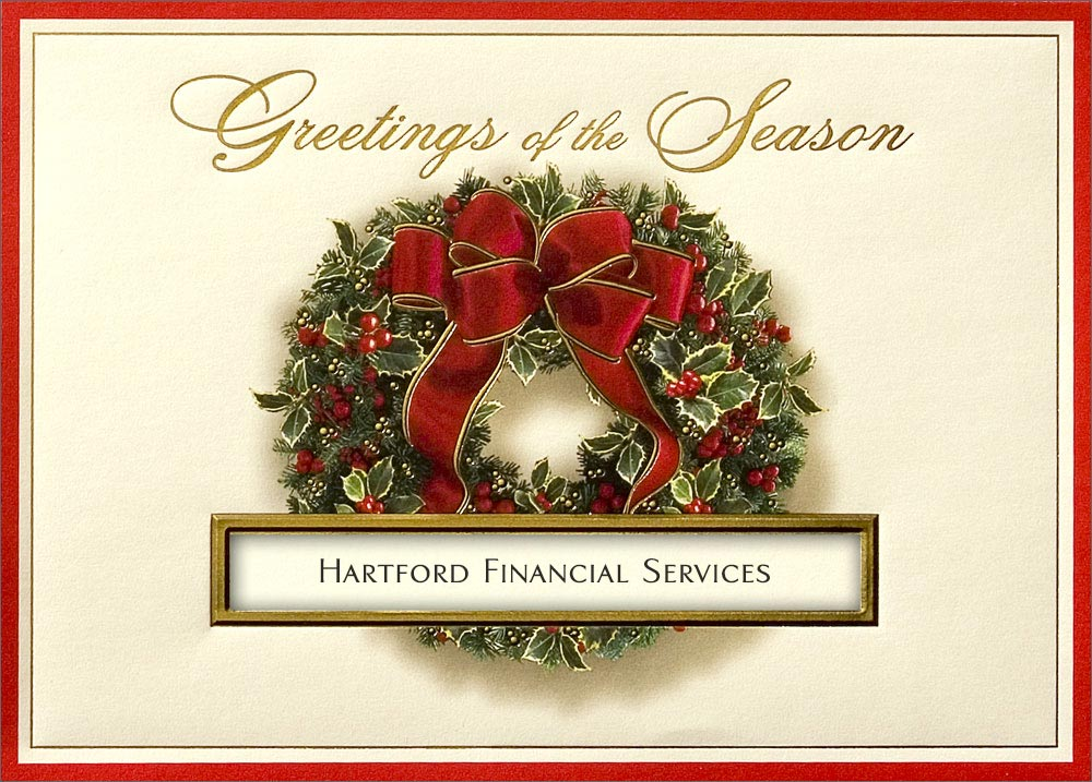 Festive Wreath Die Cut Holiday Business Christmas Cards