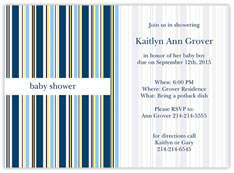 Blue Pinstriped Invitation