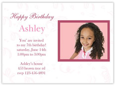 Pink Birthday Photo Invitation