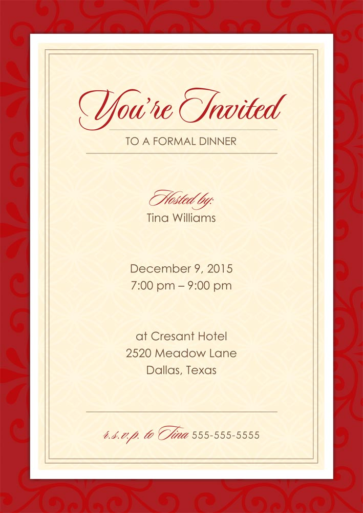 formal dinner party holiday party invitations from cardsdirect. Black Bedroom Furniture Sets. Home Design Ideas