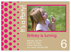 Pink Dots Party Photo Invitation