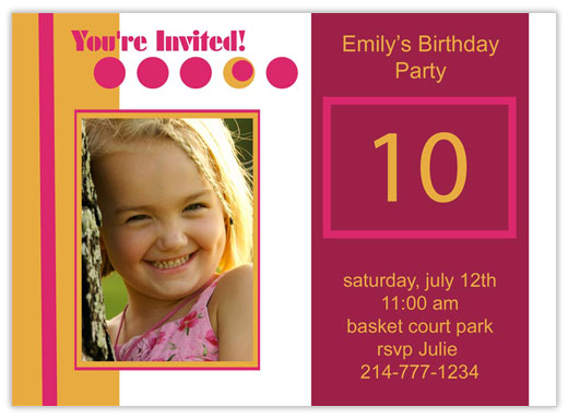 Pink Circles Birthday Photo - Birthday Invitations from CardsDirect