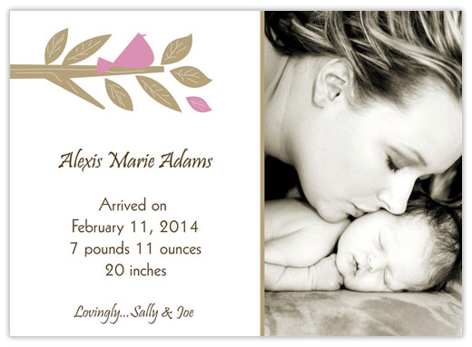 Sepia Pink Leaf - Birth Announcements from CardsDirect