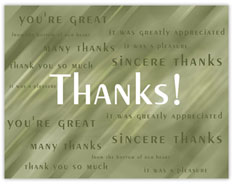 Sincere Thanks Value Card
