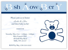 Beary Blue Shower Invitation