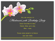 Beautiful Orchid Birthday Invitation