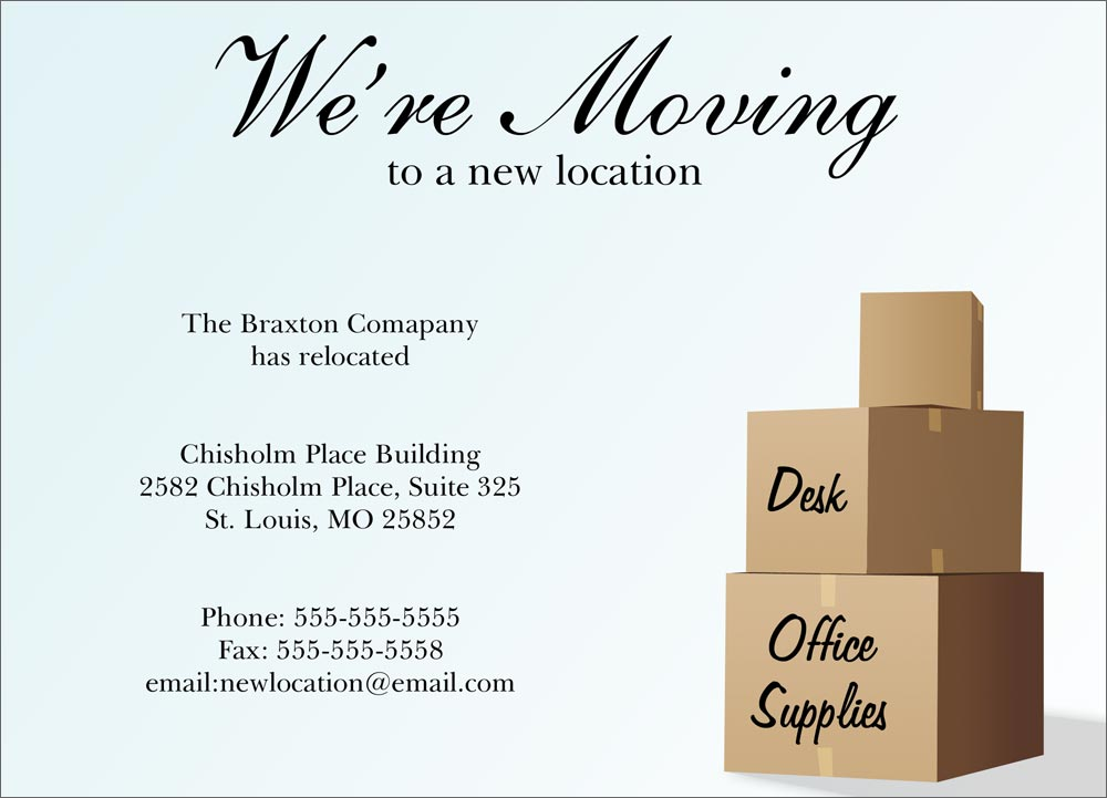 new location moving card moving announcements from cardsdirect. Black Bedroom Furniture Sets. Home Design Ideas