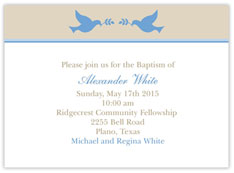 Two Doves Baptism Invitation