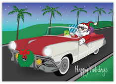 Santa in a Classic Car