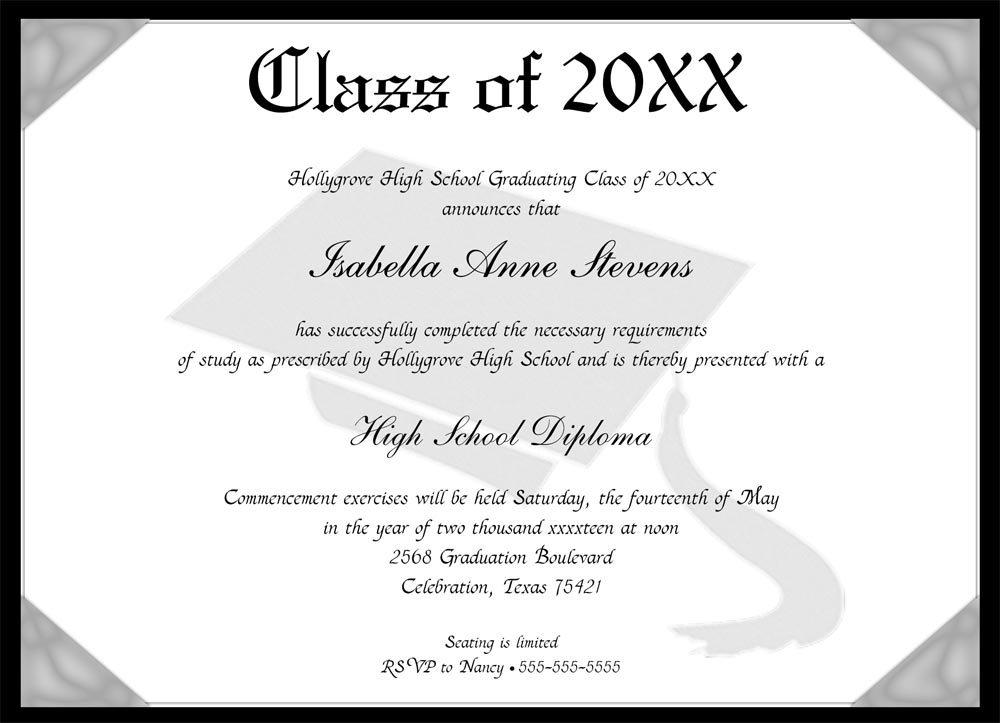 Invites/Announcements > Graduation Announcements > Graduation Diploma