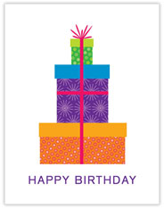 Three Gifts Stacked Birthday Card