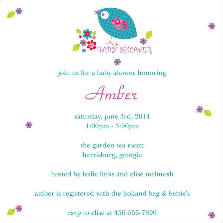 Baby Shower Invitations with Birds 750 x 749