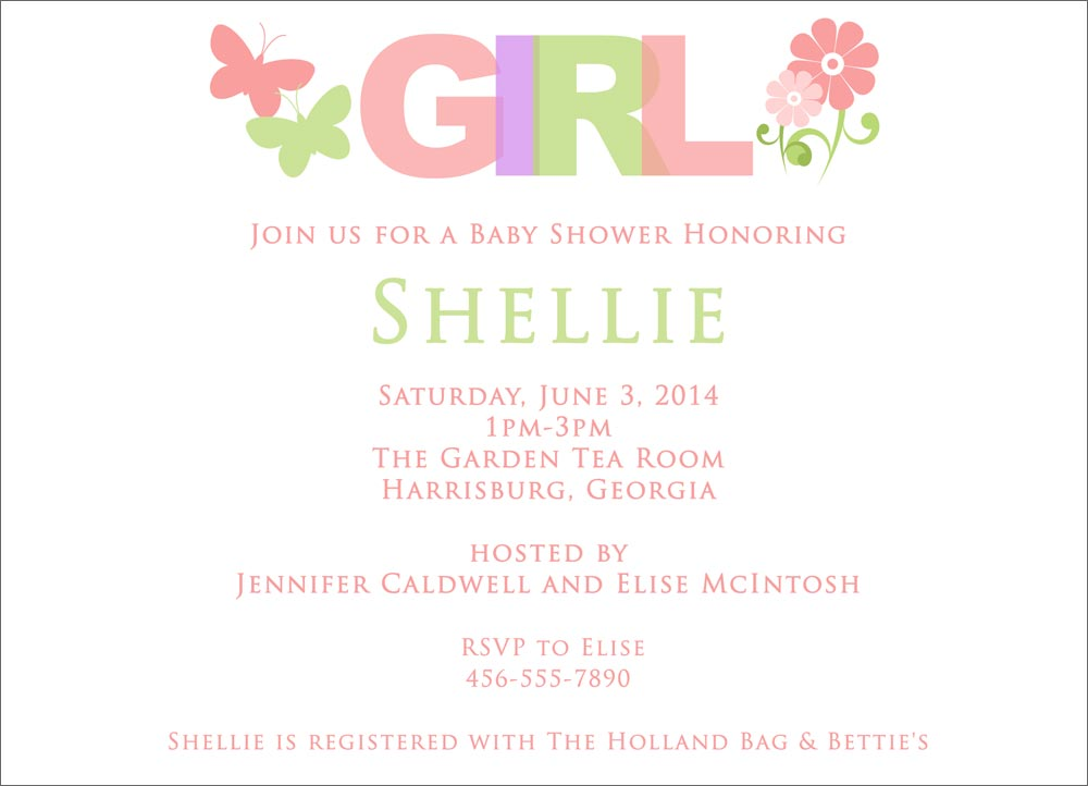 Baby Girl Elements  Baby Shower Invitations from CardsDirect