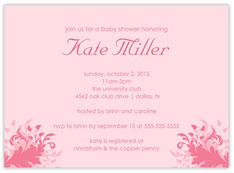Double Pink Filigree Invitation