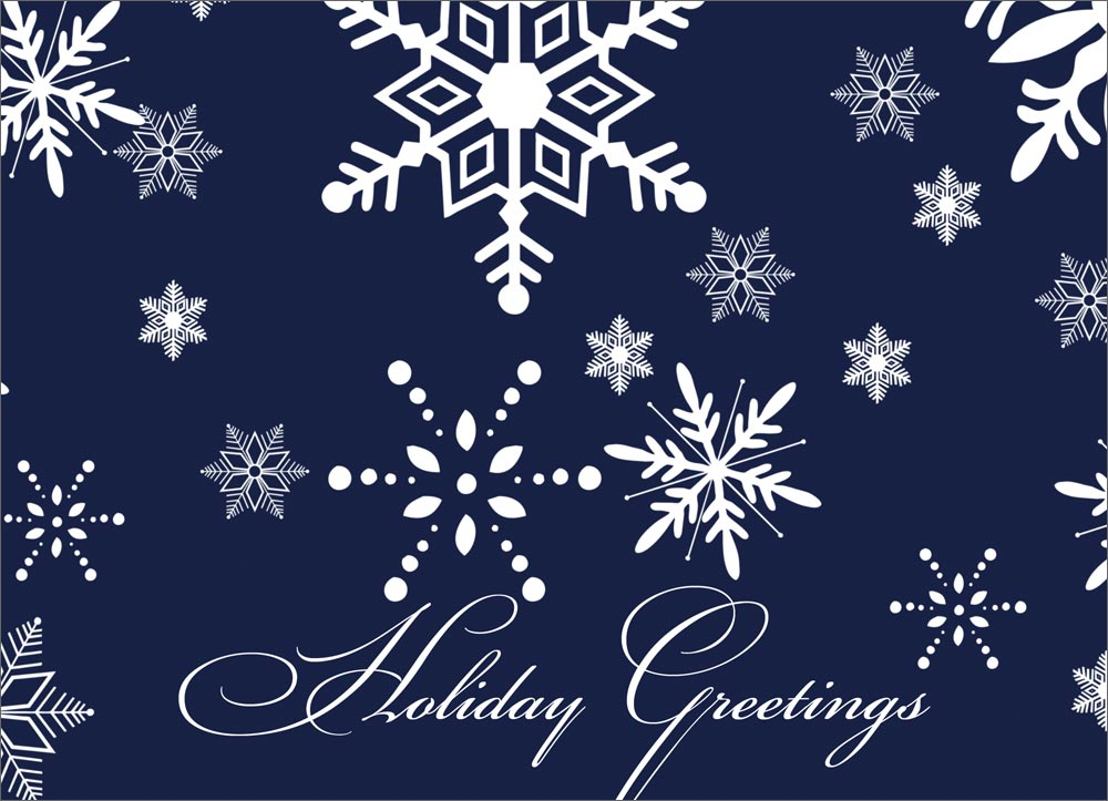 Navy Snowflake Greetings - Christmas Cards from CardsDirect