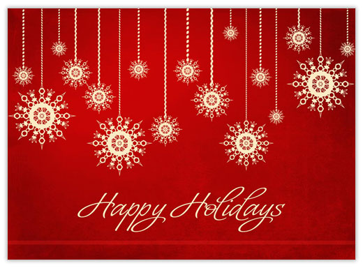 Red Hanging Snowflakes - Happy Holidays from CardsDirect