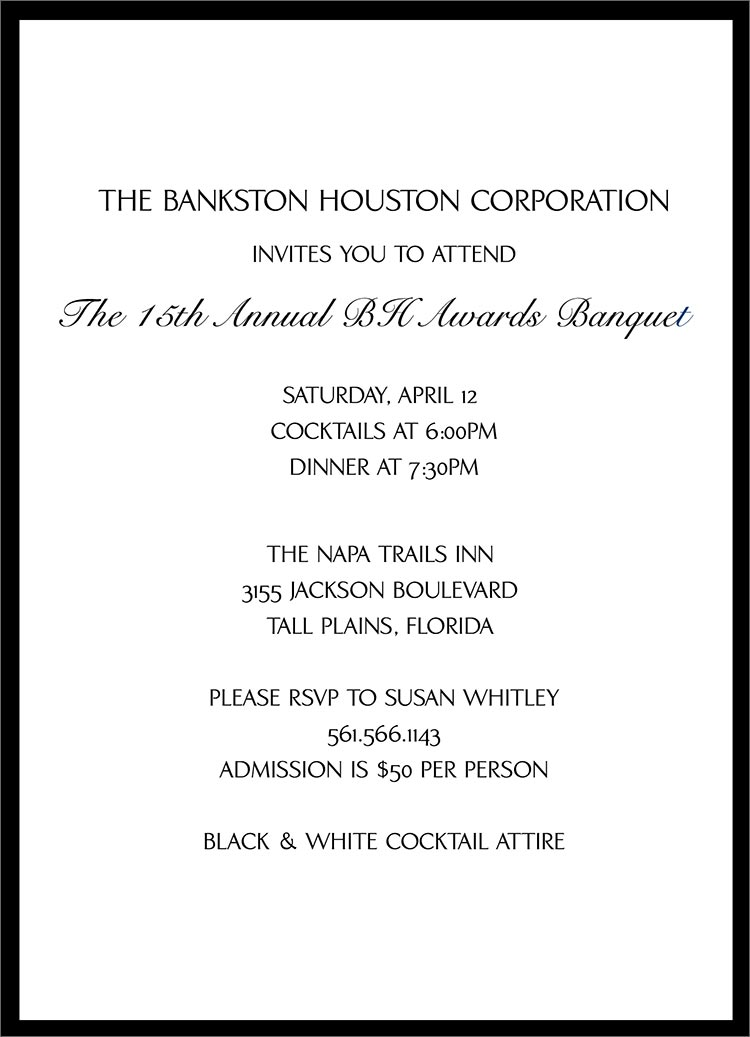 Black Banquet Invitation Award Ceremony From Cardsdirect How To