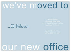 Blue We've Moved Card