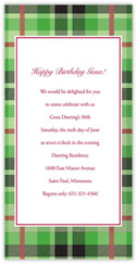 Lime Plaid Invitation