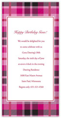 Fuchsia Plaid Invitation