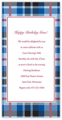 Blue Plaid Invitation