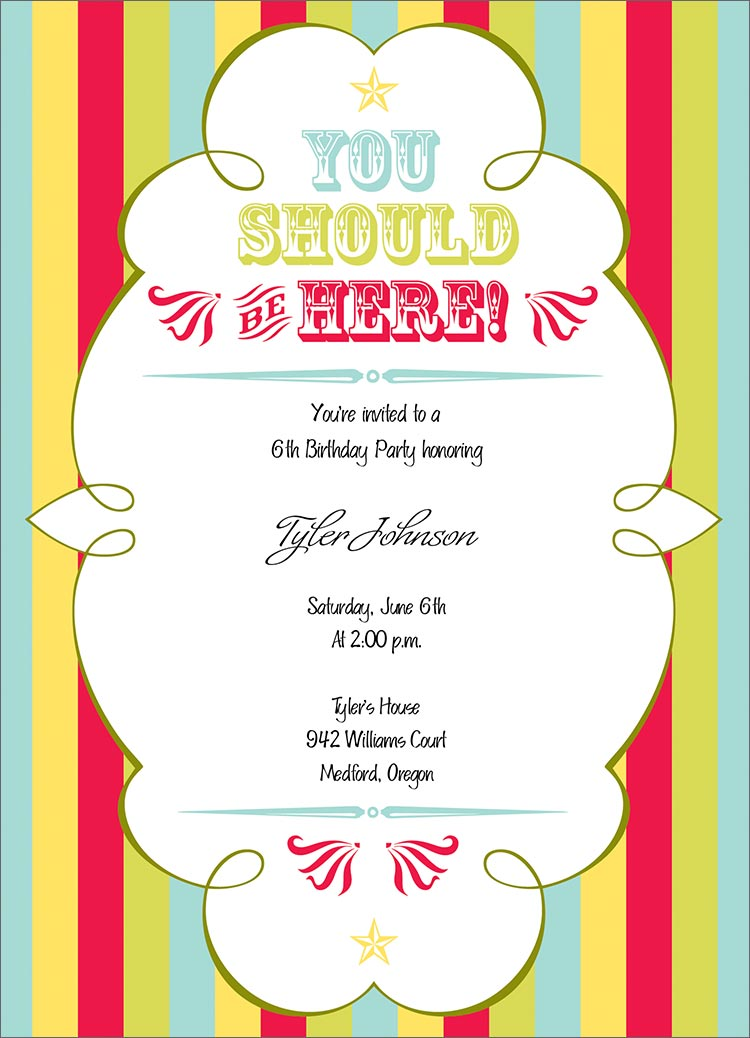 Circus Party Invitations | Ceylinks.Com