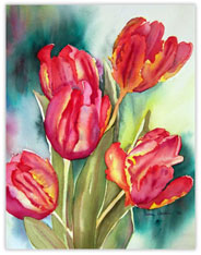 Watercolor Painted Tulips