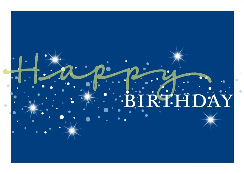 sparkling blue birthday card
