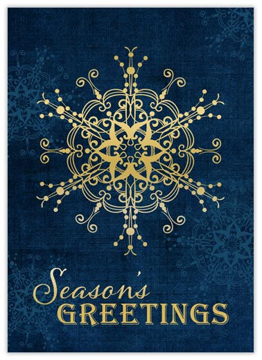 Gold Snowflake on Navy - Season Greetings from CardsDirect