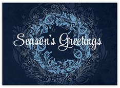 Blue Greetings Wreath