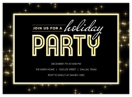 Starburst Party Invite - Holiday Party Invitations from CardsDirect